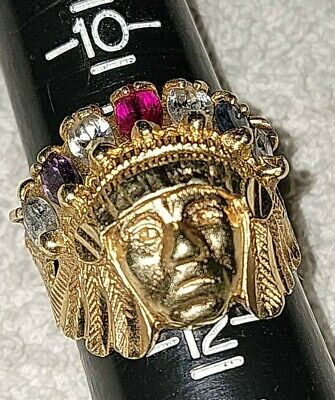 £674.35 • Buy Indian Chief Head 10k Gold Gemstone Men's Ring Size 12