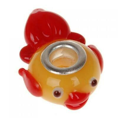 £4.16 • Buy Lovely Fish Lampwork Glass Bead Fit - Red+Yellow
