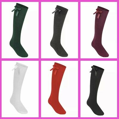 £4.99 • Buy 3 PAIRS Girls Knee High School Socks With Bow Or Plain -Sizes 6-8 Child To 6-9