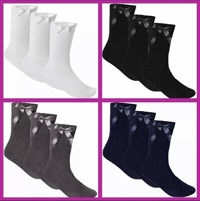 £3.99 • Buy 3 PAIRS Girls ANKLE School Socks With Bow - Sizes 6-8 / 9-12 / 12-3 / 4-6
