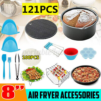 AU34.56 • Buy 121x 8'' Inch Air Fryer Accessories Rack Cake Barbecue Frying Pan Oven + Recipe