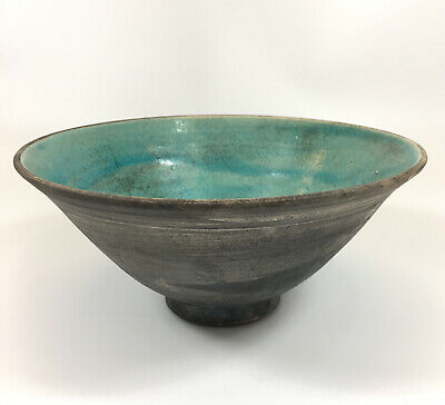 £49 • Buy Unusual Vintage Studio Pottery Bowl With Crackle Turquoise Glaze 11cm In Height