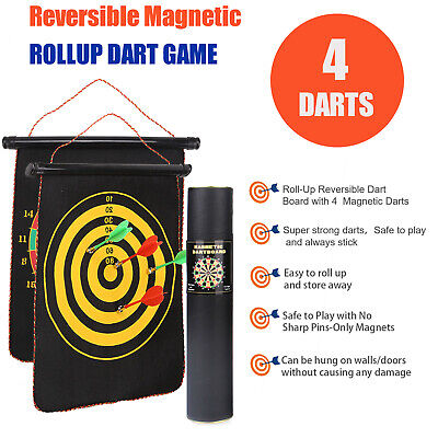 £5.99 • Buy 2in1 Magnetic Dartboard Roll Up 4 Magnet Darts Game Dart Board Double Sided Fun
