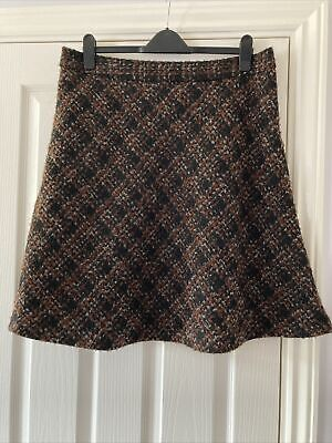 £8.99 • Buy Next Wool Mix Skater Flare Skirt Size 16 R Lined Check Pattern Brown Black Mix