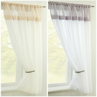 £7.99 • Buy CLEARANCE   Sorrento  Single Plain Voile Panels Slot Top - Free Postage
