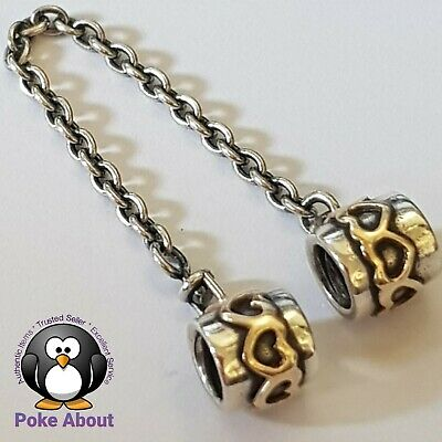 AU72 • Buy Pandora Silver 14K Gold Love Hearts Safety Chain Charm #790307 Authentic Ale