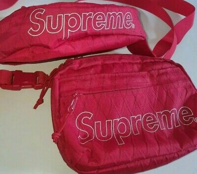 $ CDN343.78 • Buy FW18 Supreme Red Waist And Shoulder Bags Water And Abrasion Resistant