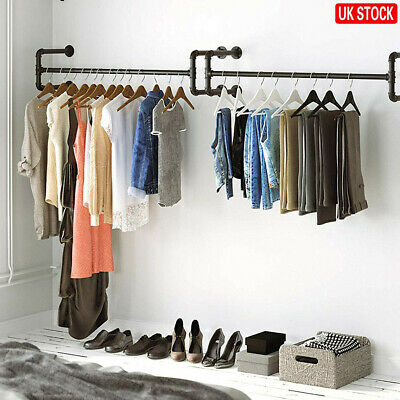 £18.99 • Buy Industrial Pipe Wall Mounted Garment Rack Clothes Display Rail Storage Hanging