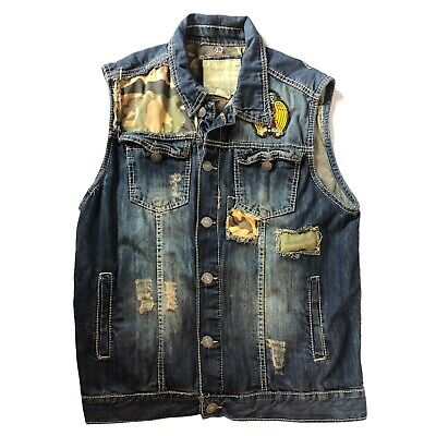 $31.39 • Buy Smoke Rise Jeans Denim Motorcycle Vest Distressed With Camo Patches