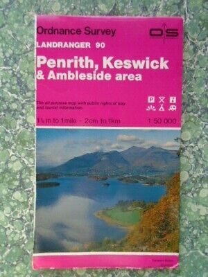 OS Ordnance Survey Landranger  Map 90 Penrith Keswick Ambleside 1988 496G • 2£