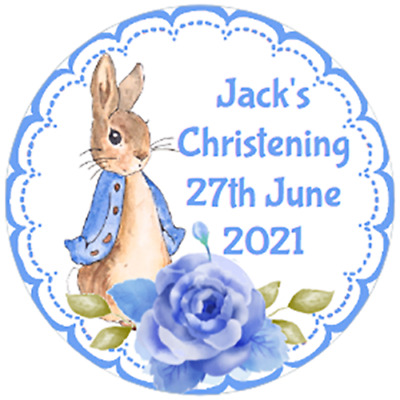 £3.75 • Buy 48 Personalised Christening Baptism Stickers PETER RABBIT  40mm Labels
