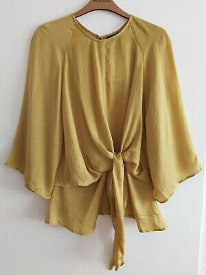 £18 • Buy Topshop Silky Slouchy Knot Front Blouse Chartreuse Kimono Sleeve 12 Tall NWT