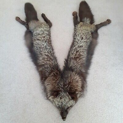 £50 • Buy Vintage Silver Fox Fur Stole With Clasp - Head, 2 Bodies And 2 Tails - 112 Cm