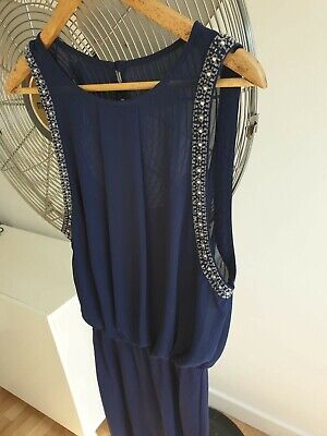 £12 • Buy TFNC London Navy Blue Dress With Swarovksis - Size 10 (fits Sizes S-L)