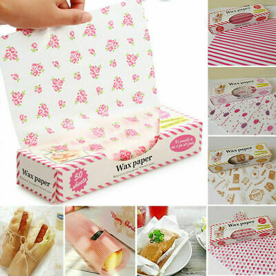 £2.99 • Buy 50Pcs Disposable Food Wrapping Wax Paper Hambur Sandwich Bread Candy Wrap Paper