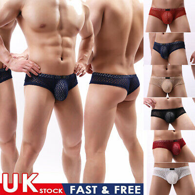 £4.35 • Buy Sexy Men's Low-rise Mesh See-through Trunks Solid Pouchs Boxer Briefs Underwear