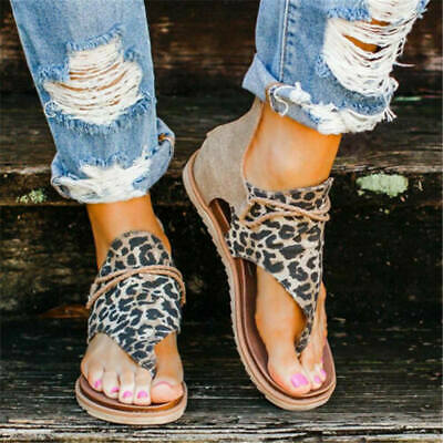 £12.99 • Buy UK Sandals Size Strappy Leopard Women Hot Flats Print Andals Summer Shoes Ladies