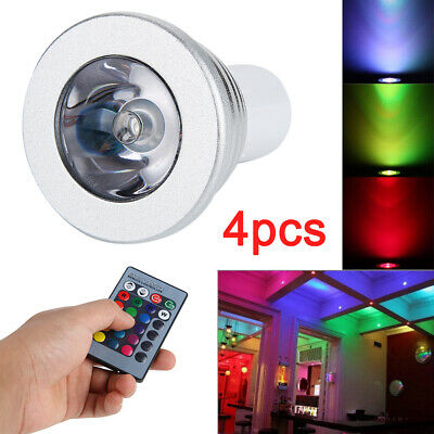 £10.29 • Buy 4X GU10 Coloured Changing RGB 4 Modes LED Remote Spot Light Bulbs Lamp Party Bar