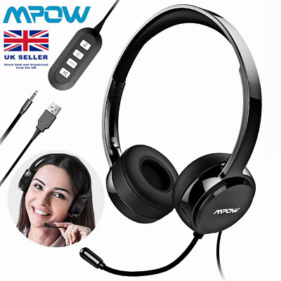 Mpow 3.5mm USB Wired Headphones With Mic Noise Cancelling For Skype Cell Phone • 19.85£