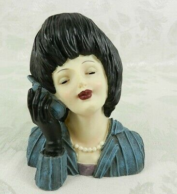AU25.79 • Buy 80's Woman Lady Head Figurine Candle Holder Resin Cell Phone Black Hair 5.5  H