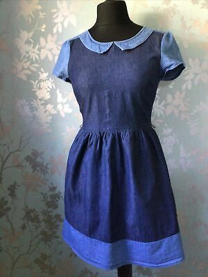 £6.99 • Buy Oasis Womens 100% Cotton Two Tone Blue Denim Fit & Flare Dress Size 10 Collared