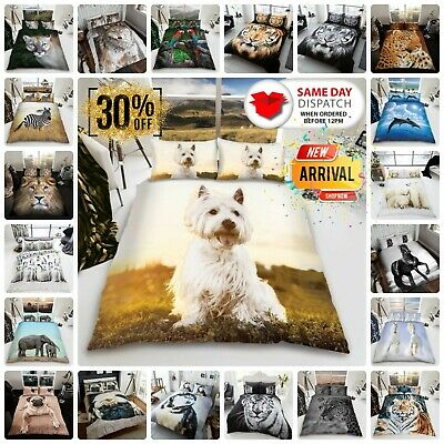 ANIMAL DUVET COVER SET Reversible Quilt Covers Single Double King Size Bedding • 17.95£