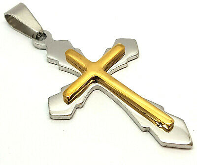 £8.99 • Buy Cross Necklace Gold Silver Layer Pendant Stainless Steel Crucifix Jewelry