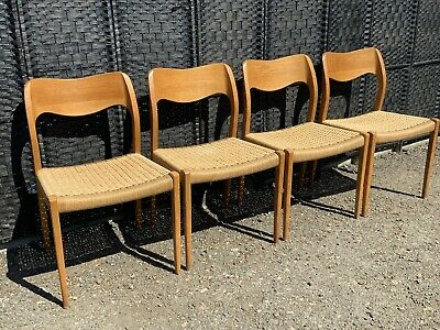 £2285 • Buy Moller Model 71 Dining Chairs Set Of Four In Solid Wood And Paper Cord Danish
