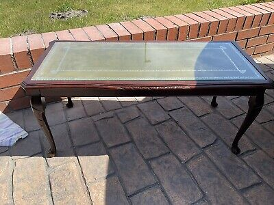 £30 • Buy Vintage Coffee Table , Mahogany , Green Leather Top ,cabriole Legs
