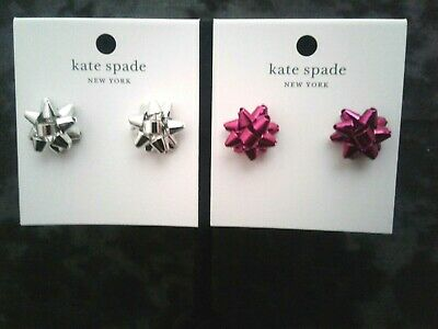 $ CDN32.65 • Buy NWT Kate Spade Bourgeois Bow Stud Earrings Red Or Silver