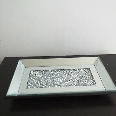£17.99 • Buy 30 Cm Loose Jewel Mirror Candle Plate Diamante Perfume Vanity Candle Holder Tray
