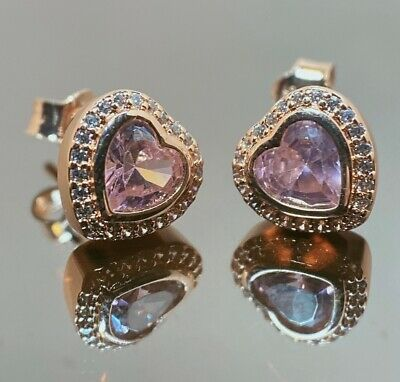 AU31.99 • Buy Authentic Pandora Rose Gold Sparkling Love Pink & Clear ALE R Stud Earrings