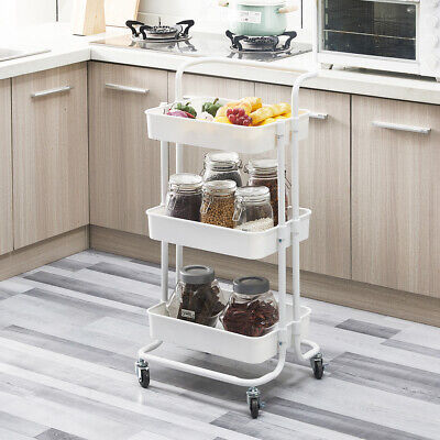 £21.99 • Buy 3 Tiers Rolling Cart Storage Trolley On Wheels Compact Kitchen Trolley White NEW