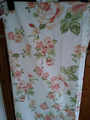 £29.99 • Buy PAIR Vintage 1980's  Floral Curtains Peach White Green Cotton Tab Top 63  X 59L