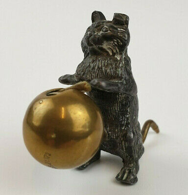 £149 • Buy Rare Antique Late 19th Century Novelty Lead Cat Sewing Tape Measure 3.6cm High