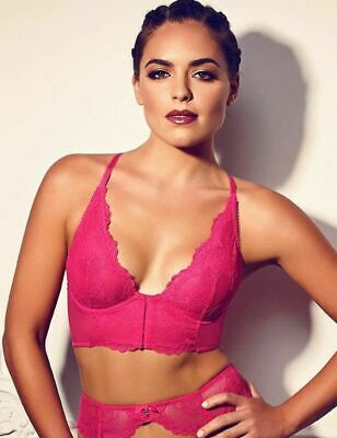 £7.99 • Buy Gossard Womens Superboost Lace Deep V Bralette Bright Rose Size 32C And 34C