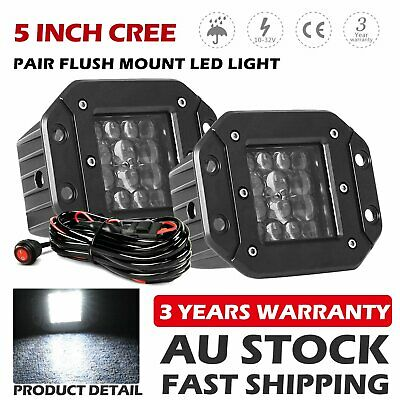 AU44.99 • Buy Pair 5inch CREE Flush Mount LED Work Lights Reverse Driving Lamp 12V 24V + Wire
