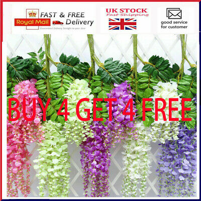 £2.89 • Buy Artificial Hanging Wisteria Fake Silk Flower For Home Wedding Garden Party Decor