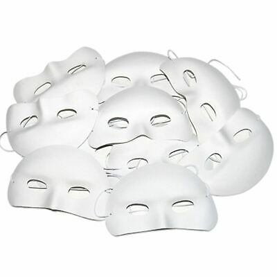 Childrens Half Face Masks Pack Of 10 Ready To Decorate Mask Making Masquerade • 5.49£