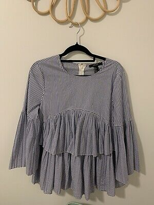 AU22 • Buy Forever New Striped Blouse Ruffle Size Small / 10