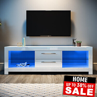 £123.24 • Buy Modern White TV Unit 160cm Cabinet Stand High Gloss With FREE LED Lights Drawers