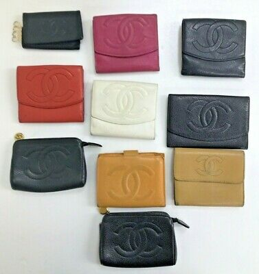 $ CDN1.21 • Buy Authentic Vintage Chanel Cc Caviar Skin Black Pink Brown Leather Folding Wallet