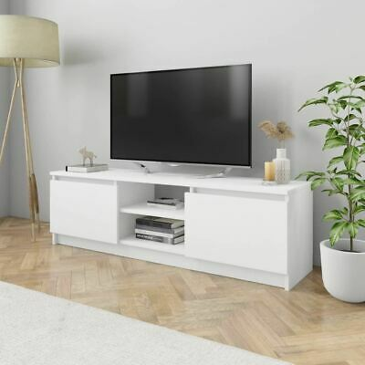 AU85.95 • Buy White TV Cabinet 2-Door Display Rack Entertainment Unit Stand With Compartments