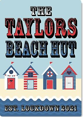 £9.99 • Buy Metal Sign Beach Hut Personalised Shed Garage Wall Plaque Man Cave Garden Bar
