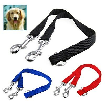 AU5.88 • Buy Duplex Double Dog Coupler Twin Lead 2 Way Two Pet Dogs Walking Leash Safety V7I9