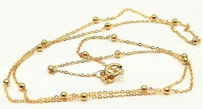 £43.95 • Buy 9ct Gold Chain 16  Flat Trace Bead Ball Chain 9 Carat Yellow Gold New Necklace