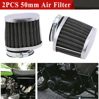 £13.99 • Buy 2X 50mm Motorbike Motorcycle Air Flow Filter Cleaner  Inlets Pod Cone Re-usable