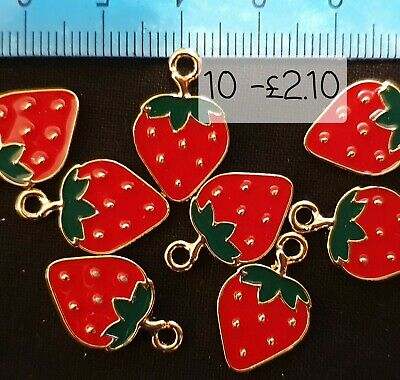 £2.10 • Buy 10 X Enamelled Strawberry Charms