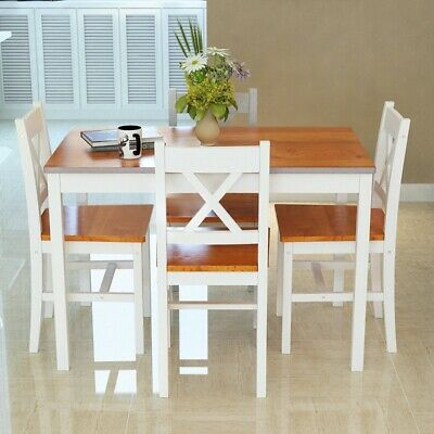 £69.99 • Buy 4 Colors Solid Pine Wood Dining Table And 2/4 Chairs Set Home Kitchen Furniture