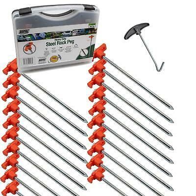 £14.99 • Buy 20 X Heavy Duty Hard Ground Tent Awning Steel Rock Pegs In Case With Puller